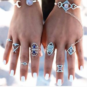 New! WOMEN'S BOHO SILVER AZTEC 8PC RING SET